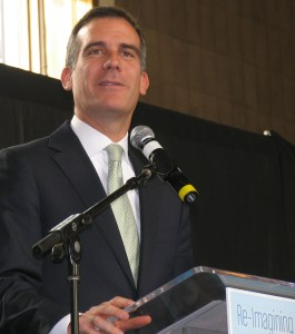 Readers - how would you grade L.A. Mayor Eric Garcetti on Livable Streets issues? Photo: Roger Rudick