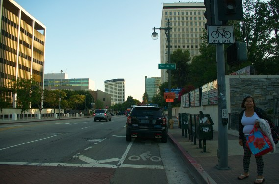 A police cruiser occupies the southbound bike lane on Los Angeles St. in July. Sahra Sulaiman/Streetsblog L.A.