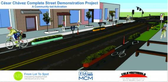 Nuestra Avenida. A potential design for a pop-up festival to be thrown by MCM, YouthBuild, and From Lot to Spot on Cesar Chavez in Boyle Heights.