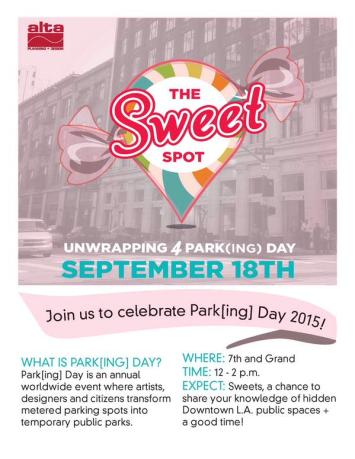 Alta Planning hosts The Sweet Spot Park(ing) Day parklet in downtown Los Angeles