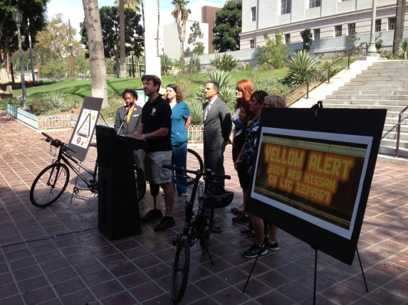 Hit-and-run victim Damian Kevitt addresses this morning's A.B. rally at Los Angeles City Hall. Photo: Joe Linton/Streetsblog L.A.
