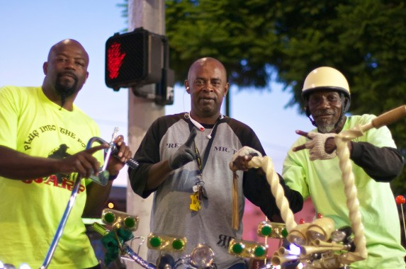 "Darryl Johnson (Unique Riders), Tyrone ""T-Money"" Williams (Real Rydaz), and Henry Jackson (Real Rydaz) support a bike lane on Central. Sahra Sulaiman/Streetsblog L.A."