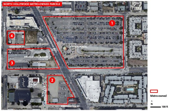 Metro's North Hollywood parcels, now up for possible redevelopment. Image via Metro