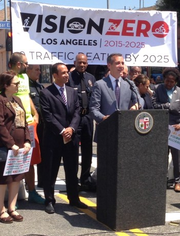 Can we get some clear leadership on L.A. safer, multi-modal future? Mayor Garcetti at last month's Vision Zero announcement. Photo: Joe Linton