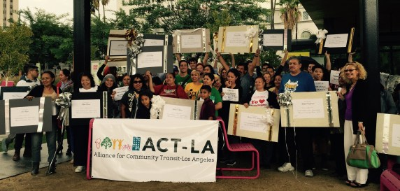 The Alliance for Community Transit-Los Angeles rally at Grand Park yesterday. Photo by Laura Raymond ACT-LA