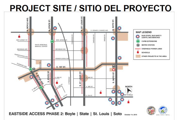 Phase 2 of the Eastside Access Project will target side streets that connect to the 1st Street corridor. Source: Department of Public Works