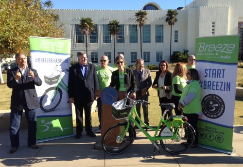Francie Stefan, center - at podium, at Breeze Bike Share kick-off