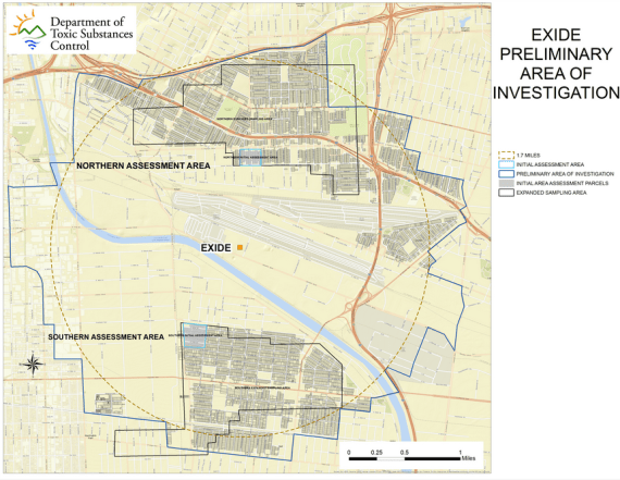 The Expanded Assessment Areas where DTSC conducted testing to determine the extent of lead contamination from the Exide facility in Vernon. As many as 10,000 homes may have been affected within a 1.7-mile radius of the plant. Source: DTSC