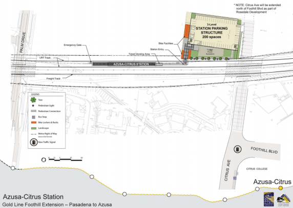 The APU station is finished, but the road to the parking lot is not. Site plan from Gold Line Construction Authority