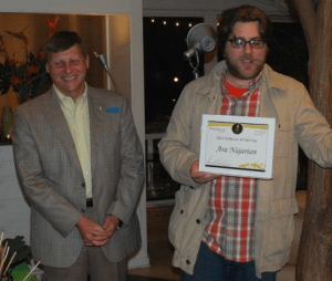 Damien presents Ara Najarian with the 2012 Elected Official of the Year Streetsie at our April 2013 fundraiser at Deborah Murphy's House.