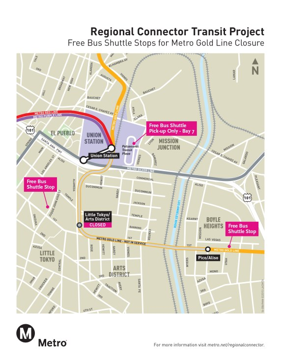 Map of Metro Gold Line temporary shuttle stops: Union Station, Little Tokyo, and Pico Aliso. Image via Metro