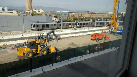 Little Tokyo test train this afternoon. Photo by Roger Rudick/Streetsblog L.A.