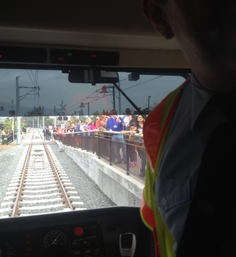 The view from the Gold Line train operator's seat. Photo by Aviv Kleinman