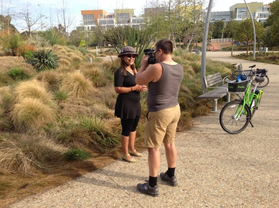 Nominee Cynthia Rose interviewed by Clarence Eckerson for an upcoming Streetfilm. Photo by Joe Linton