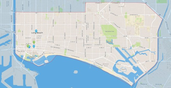 Screenshot map of Long Beach Bike Share. For expanded stations, see current website map.