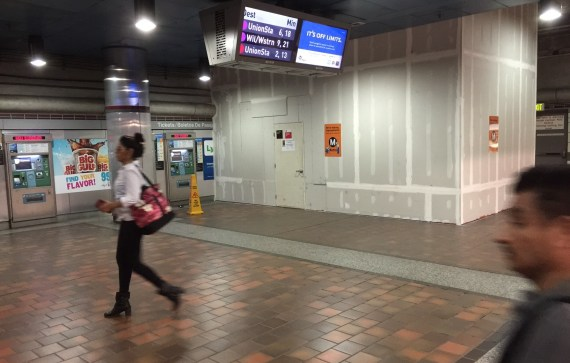 Eyes on the Street: In Metro's 7th Street Station, construction is now underway for the new tunnel to The Bloc. Photo: Joe Linton/Streetsblog L.A.