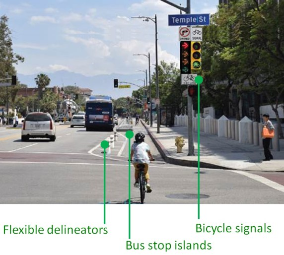 In about a month, Los Angeles Street will be a full-featured protected bike lane. Image via LADOT