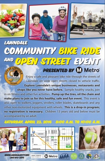 Lawndale Community Bike Ride and Open Street Event flier. For detail see [PDF] version