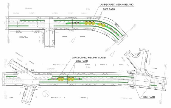 Bike lanes and landscape median improvements planned for Fletcher Drive and Avenue 35. Source: GPIA