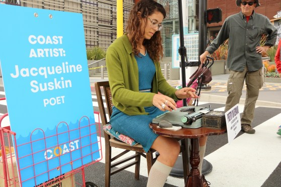 Passers-by were able to request poems on any number of topics.