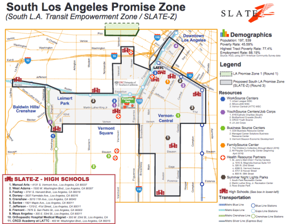 The area of South Los Angeles designated as a Promise Zone encompasses Historic South Central, moves east along important rail and bus corridors to the Crenshaw District. Source: Slate Z