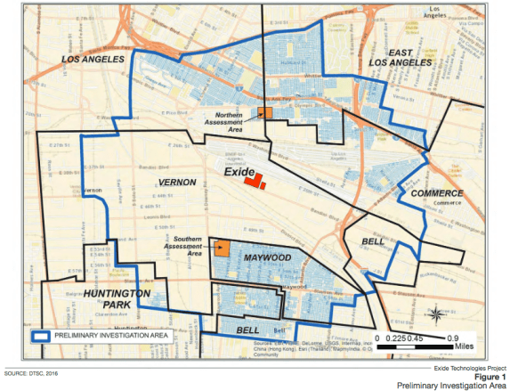 The area around Exide within which DTSC is conducting soil lead testing and clean-up of contaminated yards. Source: DTSC