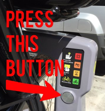 To release Metro Bike Share bikes, don't press the green square, press the circular metal button.