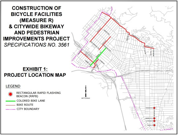 Map of city of Glendale's bicycle and pedestrian improvements being implemented in 2016. Map via city of Glendale