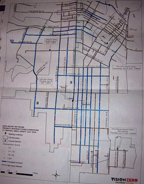 Terrible quality image of the South L.A. streets prioritized (in blue) for safety interventions. Central, Slauson, most of Manchester, MLK Blvd., and Wilmington did not make the cut. Source: Vision Zero handout