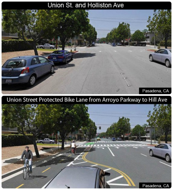 Before/after images of Pasadena's planned Union Street parking-protected bikeway. Images via Pasadena DOT