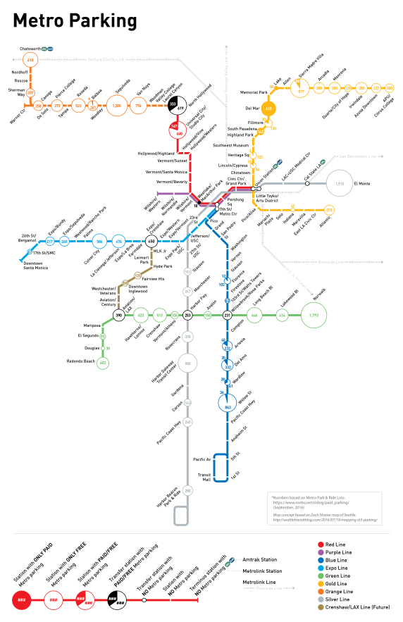Metro Rail and BRT parking map - by Mehmet Berker