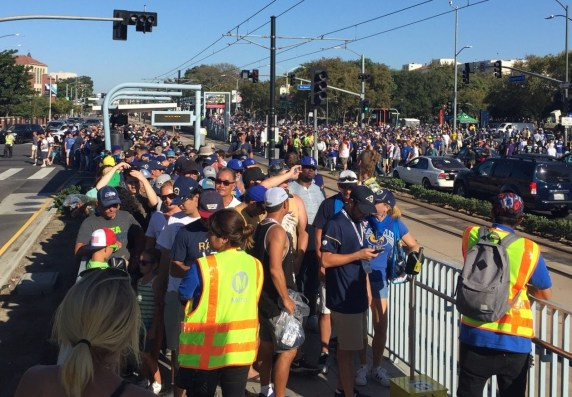 Expo Line platform crowding after Rams game. Photo via Metro