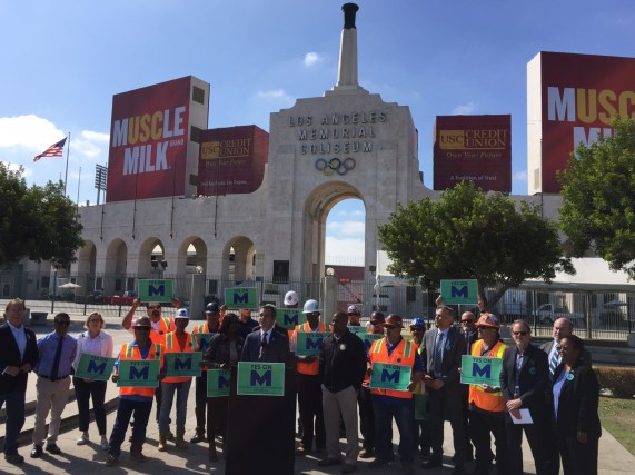 L.A. Mayor Eric Garcetti has been pushing heavily for yes votes on Measure M. He spoke a pro-M event yesterday at the Colliseum. Photo: Joe Linton/Streetsblog L.A.