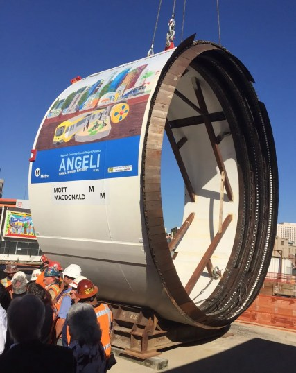 "The 21.5-foot diameter shell for ""Angeli"" the Metro Regional Connector Tunnel Boring Machine. All photos: Joe Linton/Streetsblog L.A."