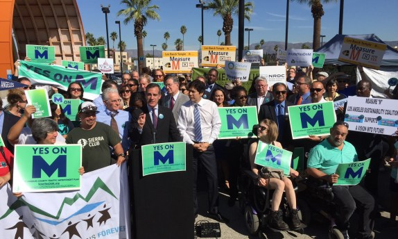 Eyes on the election: Measure M proponents rally in North Hollywood last Friday. Photo: Joe Linton/Streetsblog L.A.