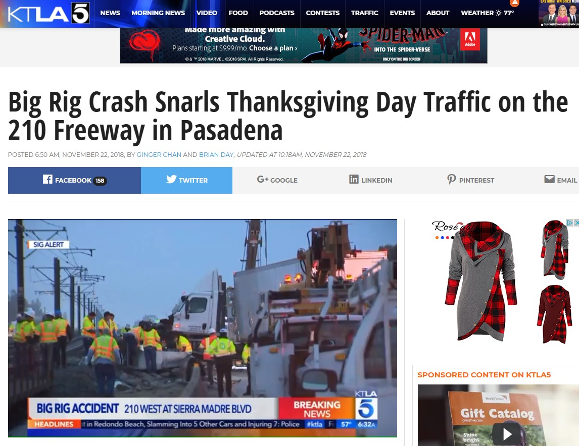 Truck Crashes into Gold Line Tracks in Pasadena on Thanksgiving