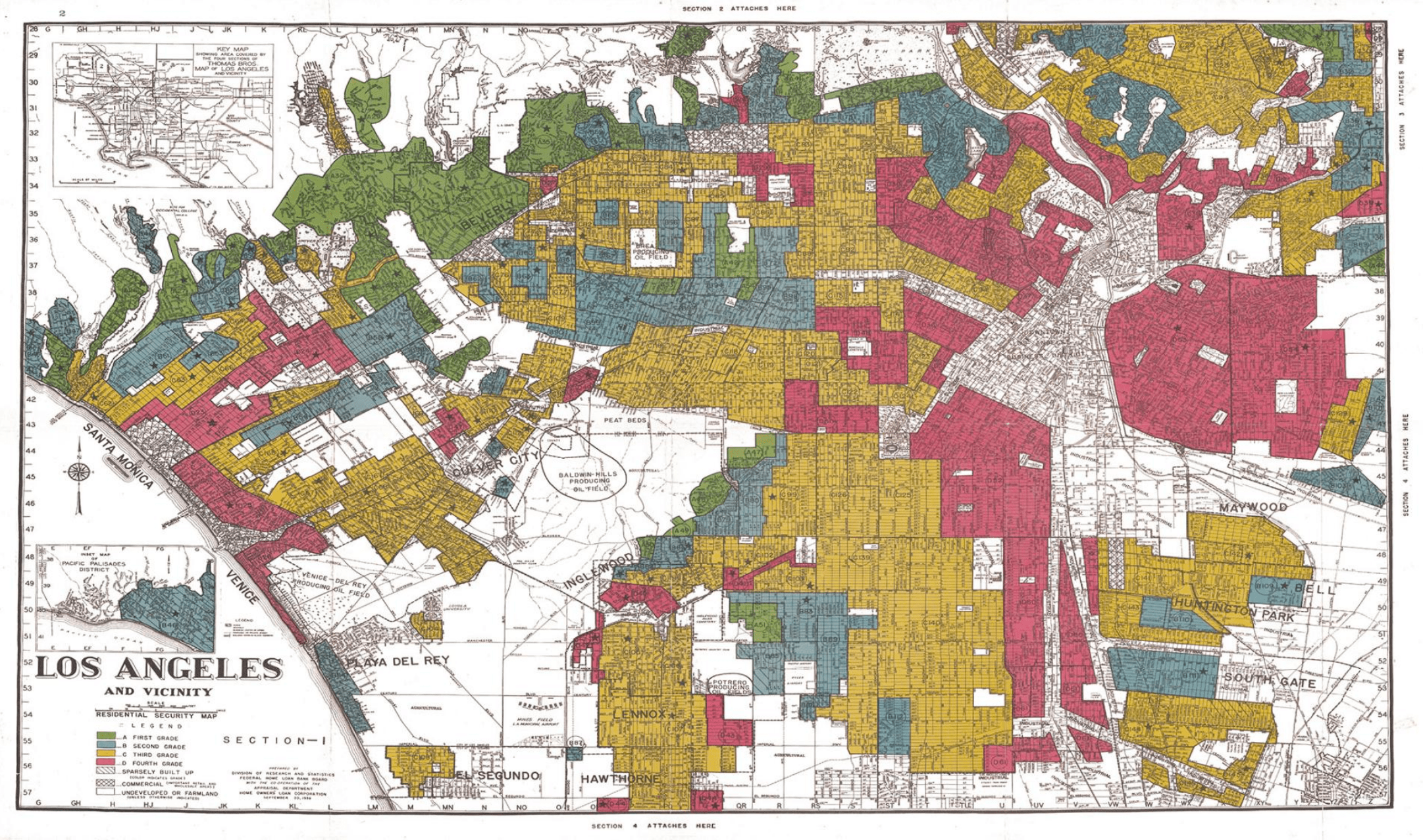 """The term """"redlining"""" has its roots in 1939 maps from the Home Owners' Loan Corporation that designated red zones as """"hazardous"""" investment areas for lenders due to their ethnic composition and poor housing stock (also a product of segregation). Yellow zones were largely populated by whites but were being """"infiltered"""" by non-whites and thus categorized as """"definitely declining."""" On the westside of South Central, Slauson marked a dividing line between more desirable neighborhoods (in blue) and less desirable yellow ones (see how these zones shaped population growth below). Visit Mapping Inequality to click on individual neighborhoods with L.A. and see how they were classified and described at the time."""
