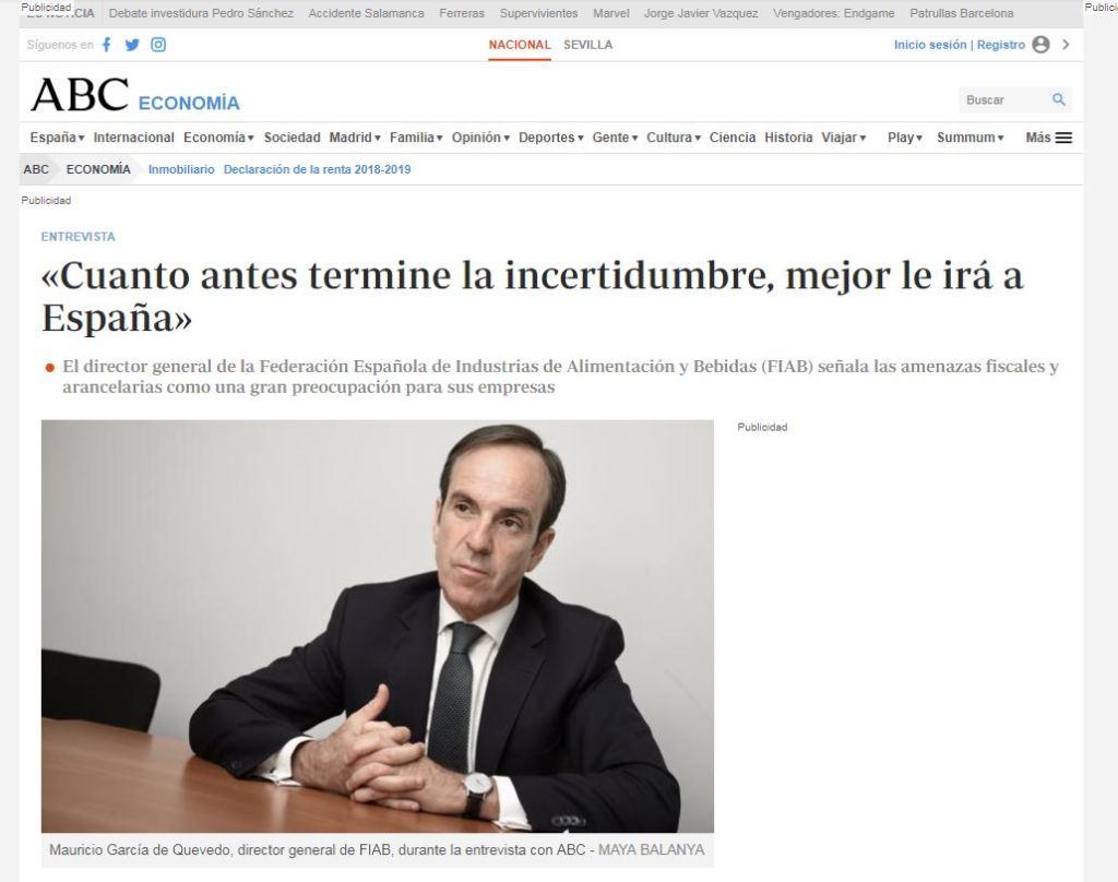 Entrevista a Mauricio García de Quevedo, director general de FIAB