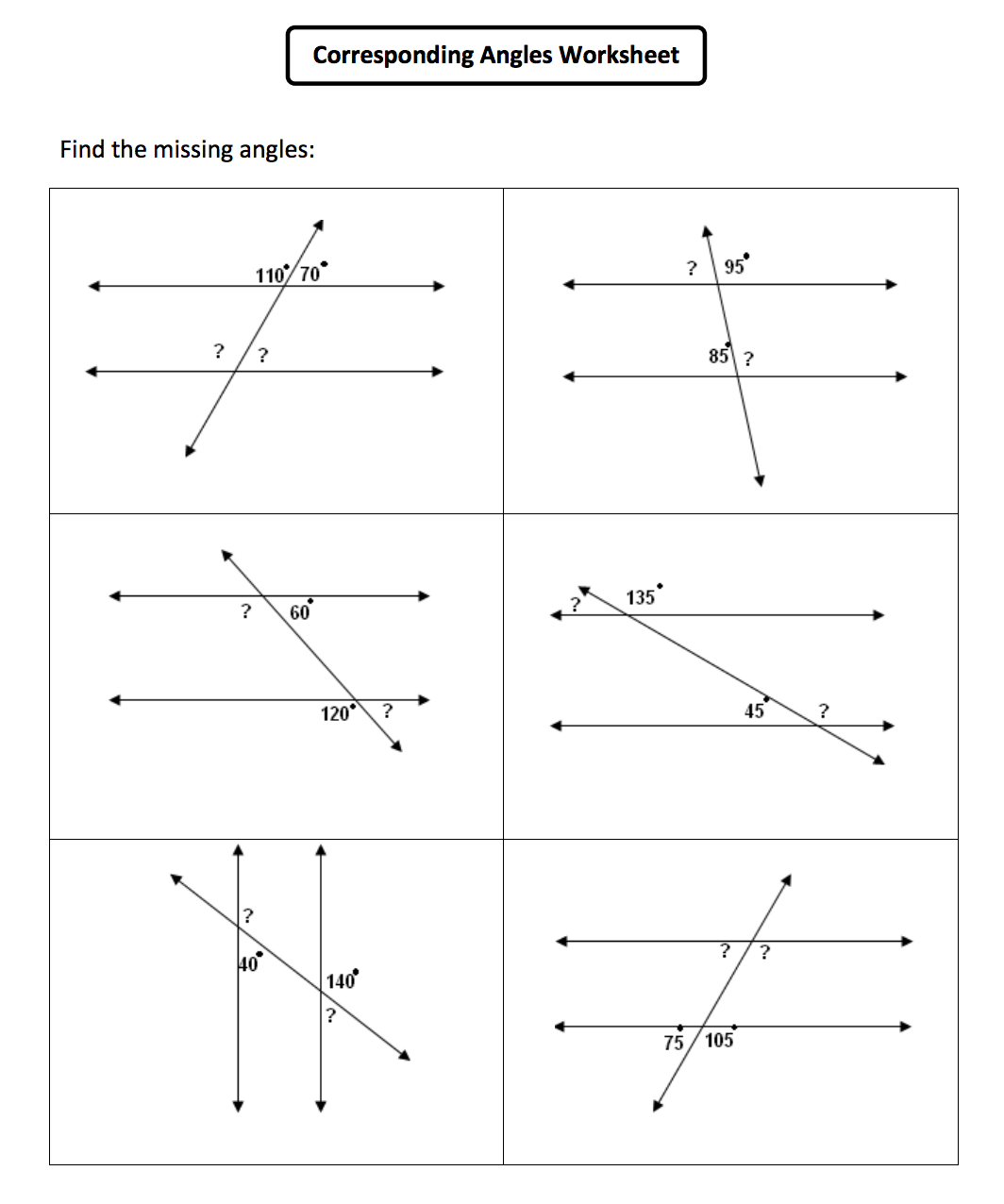 Alternate Angles Worksheet
