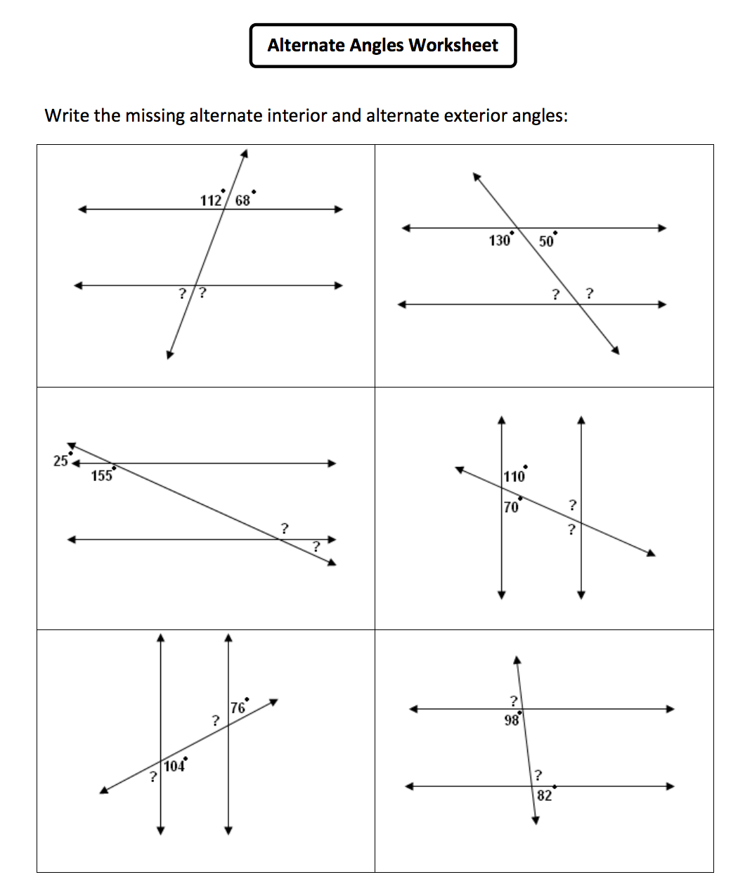 Alternate Corresponding And Co Interior Angles Worksheet
