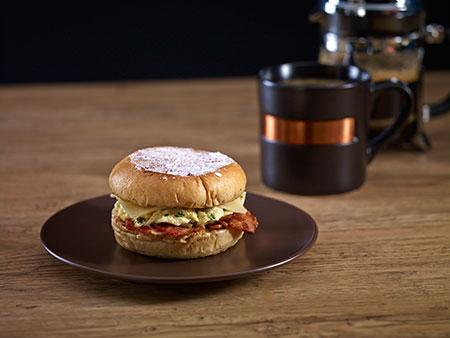 Breakfast sandwich bacon egg