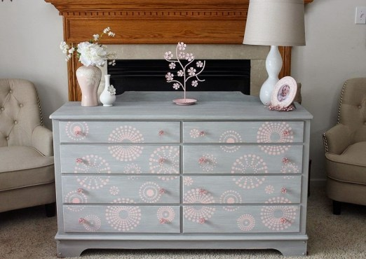 Pink and gray stenciled dresser american paint company