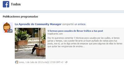 Programar publicaciones en Facebook. (3/4)