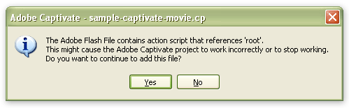 "Screenshot of Captivate's ""root"" warning"
