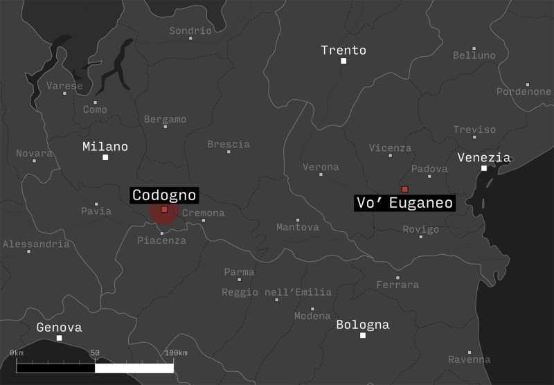 Mappa del Nord Italia. In evidenza i focolai di Codogno e Vo' Euganeo - Storia del coronavirus