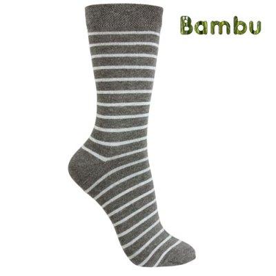 bambusstrumpa-randig-gra