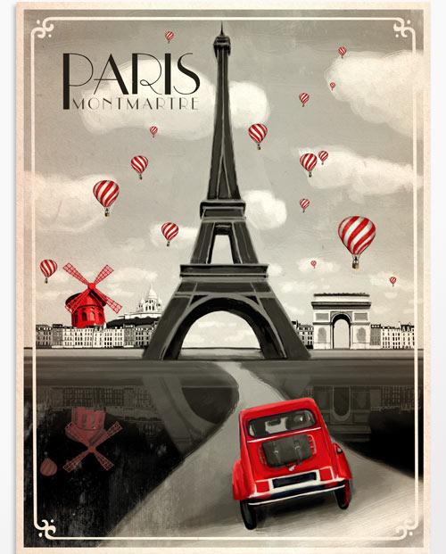 Affiche Paris Originale Tableau Vintage Labaleinegraphique Com