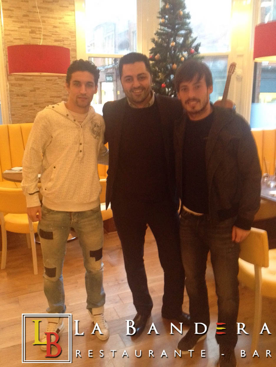 David Silva and Jesus Navas at La Bandera Restaurant