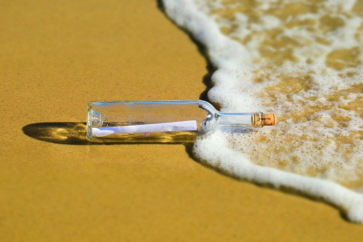 Future letter to Laban in a bottle on a beach
