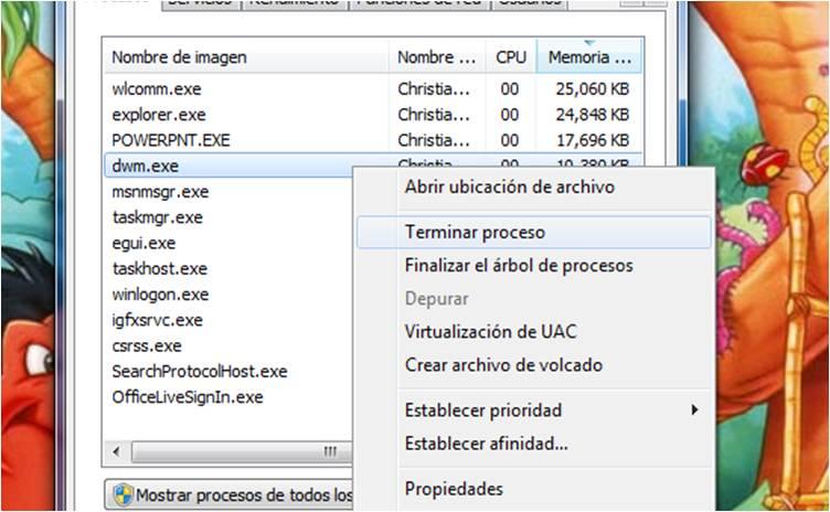 Matar Proceso Aero - Windows 7 (2/6)
